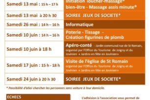 Programme des activités de mai et juin 2017
